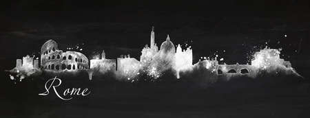 Silhouette Rome city painted in chalk with spray droplets with streaks landmarks drawing with chalk on blackboard