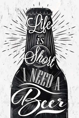 Illustration pour Poster wine glass restaurant in retro vintage style lettering life is short I need a beer in black and white graphics - image libre de droit