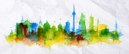 Illustration pour Silhouette overlay city Berlin with splashes of watercolor drops streaks landmarks in green with blue tones - image libre de droit