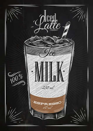 Poster coffee iced latte in vintage style drawing with chalk on the blackboard