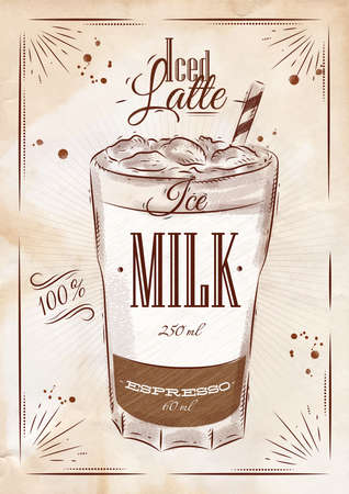 Poster coffee iced latte in vintage style drawing