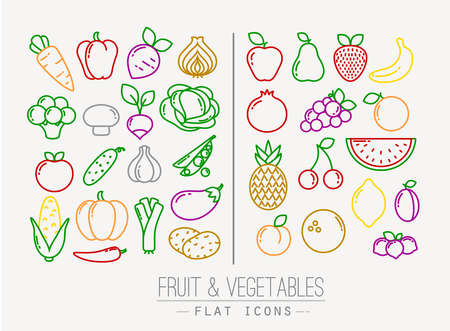 Set of flat fruits and vegetables icons drawing with color lines on white backgroundのイラスト素材