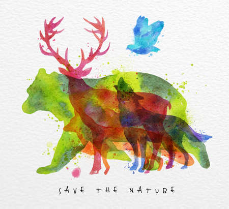 Color animals ,bear, deer, wolf, fox,  bird, drawing overprint on watercolor paper background lettering save the nature