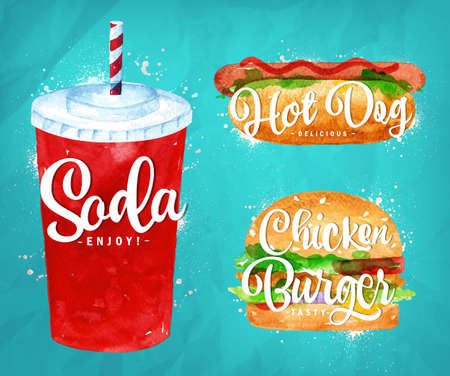Set Of Soda Water Hot Dog And Chicken Burger Drawing With Color