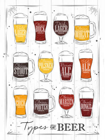 Illustration pour Poster beer types with main types of beer pale lager, bock, dark lager, wheat, brown ale, pale ale, cider, porter, marzen, dunkel drawing with coal in vintage style on wood background. - image libre de droit