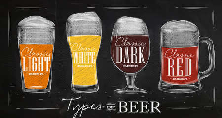 Poster beer types with four main types of beer lettering classic light beer, classic white beer, classic dark beer, classic red beer drawing with chalk in vintage style on chalkboard.