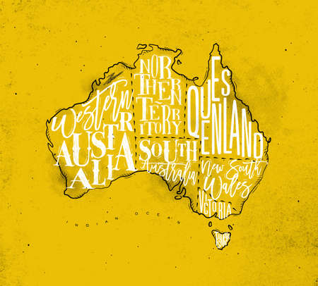 Vintage australia map with regions inscription western, northern, south, australia, queensland, victoria, tasmania drawing on yellow background