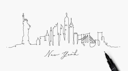 Ilustración de City silhouette new york in pen line style drawing with black lines on white background - Imagen libre de derechos
