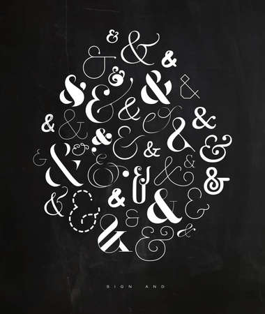 Illustration pour Poster hand drawn decoration symbosl ampersand drawing on crumpled paper background - image libre de droit