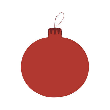 Illustration pour Red hand drawn Christmas tree ball icon. Isolated on a white background. - image libre de droit