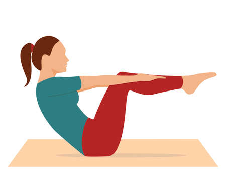 Illustration pour Woman doing workout. Sport exercise isolated on white background. Yoga and fitness, healthy lifestyle. Flat vector illustration - image libre de droit