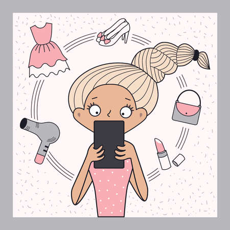 Illustration pour Girl shopping online vector image - image libre de droit