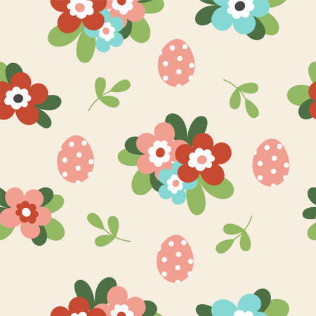 Illustration pour Seamless pattern with cute Easter decorated eggs. Traditional symbol of Easter. Illustration in simple flat hand style - image libre de droit