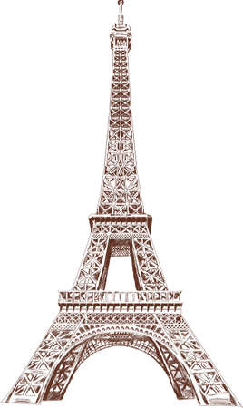 Eiffel Tour hand drawn with graphic tablet