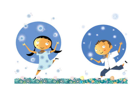 Ilustración de Illustration of a cheerful boy and girl with flowers and stars - Imagen libre de derechos