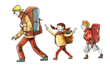 Ilustración de Illustration of family of hikers, walking with backpacks - Imagen libre de derechos