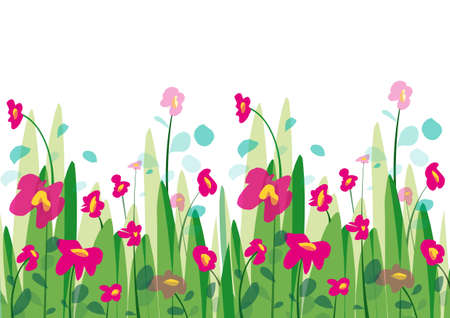 Ilustración de Spring background with grass and flowers with petals in the wind - Imagen libre de derechos