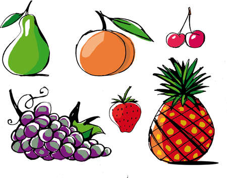 Ilustración de Vector fruits illustration. collection of five friendly fruits. Pear, peach, pineapple, cherry, strawberry and grape - Imagen libre de derechos