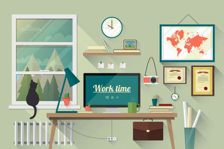 Illustration pour Illustration of  modern workplace in room. Creative office workspace with map. Flat minimalistic style. Flat design with long shadows. - image libre de droit