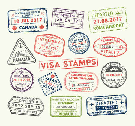 Illustration pour Isolated set of visa passport stamp for travel to Canada or USA, Uk or China, Venezuela or Dominican republic, Japan or Egypt, Korea or Brasil, Italy or Tailand. Tourism icon. Airport sign. Vector. - image libre de droit