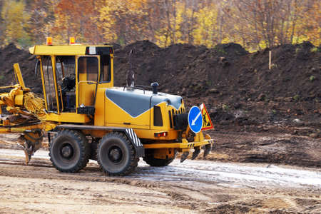 Photo for small bulldozer on a construction site close up - Royalty Free Image