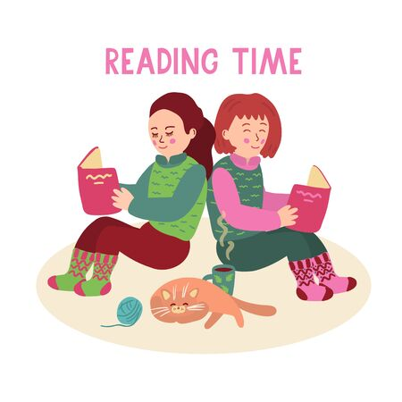 Nice little girls sitting on the floor and reading books. There is a mug of tea and a cute sleeping cat near them. Reading time lettering. Vector illustration isolated on white background.