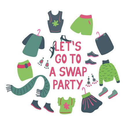 Illustration for Let's go to a swap party. Lettering with clothes, shoes and accessories for exchange. Friendly event. Hand drawn illustration on white background. - Royalty Free Image