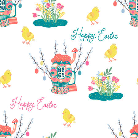 Illustration pour seamless pattern with chickens, cozy egg houses surrounded by willow twigs decorated with colorful little easter eggs. Spring and Easter theme. Hand drawn illustration - image libre de droit