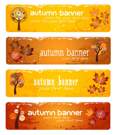 Four autumn banners for web or print