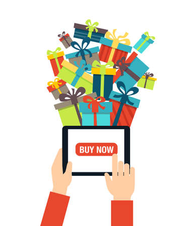 Illustration for Online shopping - ordering gifts online. A person using modern technology - touch screen tablet for Christmas shopping. - Royalty Free Image