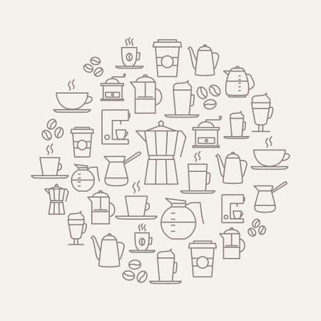 Ilustración de Coffee background made from coffee icons - thin line design. For restaurant menus, interior decorations, stationery, business cards, brand design, websites etc. - Imagen libre de derechos
