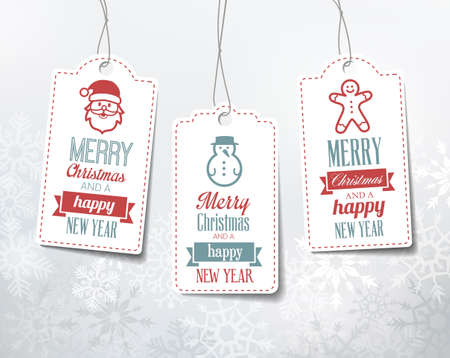 Ilustración de Christmas labels - decorations on a snowy winter background. Can be used as name tags for gifts. - Imagen libre de derechos
