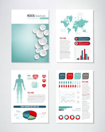 Vektor für Medical brochure template with charts and infographics elements. - Lizenzfreies Bild