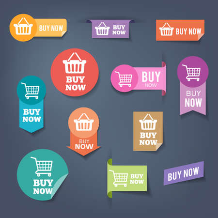 Illustration pour Collection of sales buttons Buy Now. Colorful flat design style. - image libre de droit