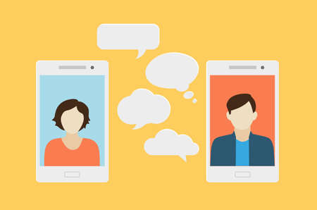 Ilustración de Concept of a mobile chat or conversation of people via mobile phones. Can be used to illustrate globalization, connection, phone calls or social media topics. - Imagen libre de derechos