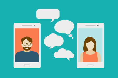 Illustration pour Concept of a mobile chat or conversation of people via mobile phones. Can be used to illustrate globalization, connection, phone calls or social media topics. - image libre de droit