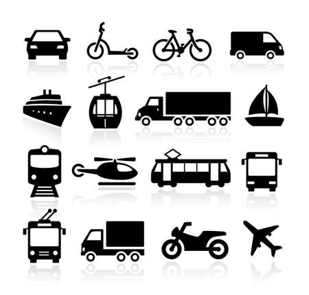 Illustration pour Collection of icons representing transportation and travel - image libre de droit