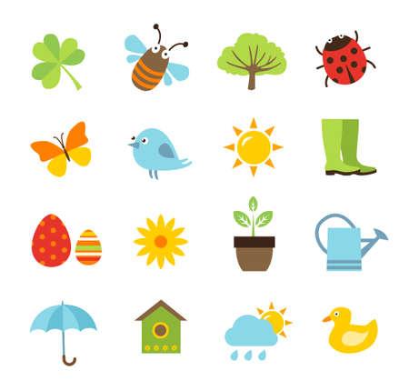 Illustration pour Collection of spring icons - image libre de droit