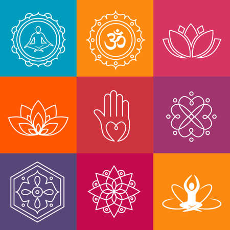 Illustration pour Collection of yoga icons and relaxation symbols - image libre de droit