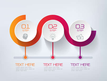 Illustration pour Three steps infographics - can illustrate a strategy, workflow or team work. - image libre de droit