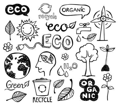 Illustration pour Eco and organic doodles - icons. Ecology, sustainable development, nature protection. - image libre de droit