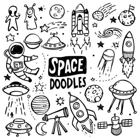 Illustration pour Collection of hand drawn doodles - UFO's, aliens, planets and spacecrafts. - image libre de droit
