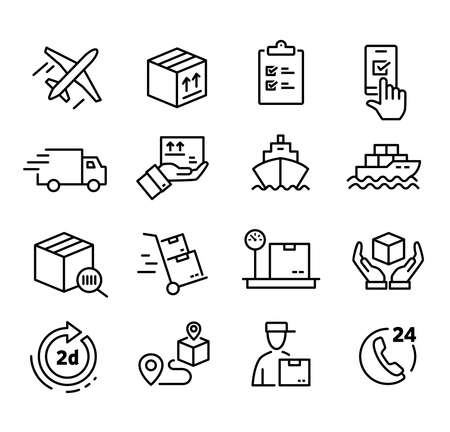 Ilustración de Collections of icons representing shipping, logistics, customer service, refunds and more - Imagen libre de derechos