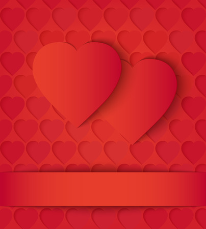 Two paper hearts card on red. Two red paper hearts and ribbon on the perforation background. Vector