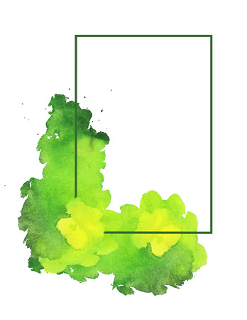 Green watercolor spot with frame. White background with light green watercolor stain and frame. Vector illustration.