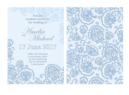 Elegant Wedding Invitation Card Template In Light Blue