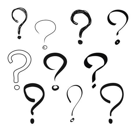 Illustration pour Black Question mark hand drawn vector set - image libre de droit