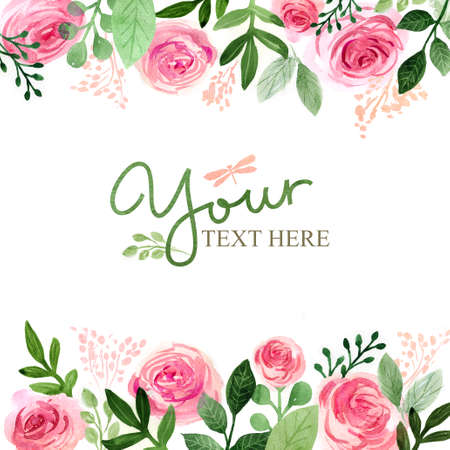 Watercolor floral greeting card. Flowers roses. Handmade. Vintage background