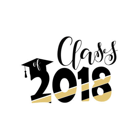 Class of 2018 hand drawn lettering  Vector illustration