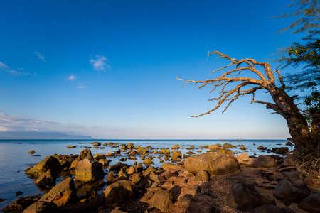 Photo pour Summer seascape on tropical Phu Quoc island, Bai Thom area in Vietnam. Landscape taken on Hon Mot with blue sky - Cambodia view - image libre de droit